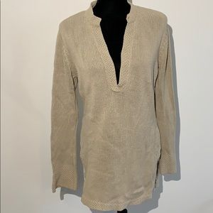 J Jill sweater tunic v neck beige knit
